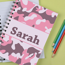 Personalised Camo Pink Notebook