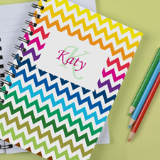 Personalised Rainbow Chevron Notebook