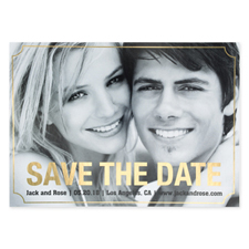 Elegant Foil Gold Personalised Photo Save The Date Card Cards