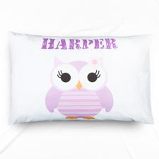 Lavender Owl Personalised Name Pillowcase