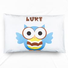 Ocean Blue Owl Personalised Name Pillowcase