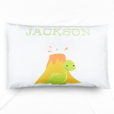 Lime Dinosaur Personalised Name Pillowcase