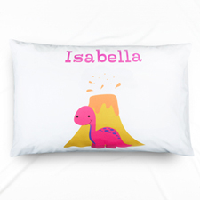 Fuchsia Dinosaur Personalised Name Pillowcase