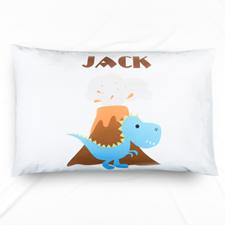 Ocean Blue Dinosaur Personalised Name Pillowcase