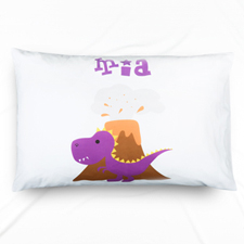 Purple Dinosaur Personalised Name Pillowcase
