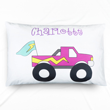 Purple Truck Personalised Name Pillowcase For Kids