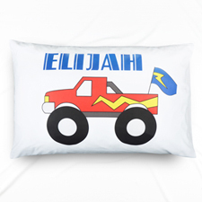 Blue Truck Personalised Name Pillowcase For Kids