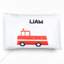 Fire Engine Personalised Name Pillowcase