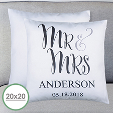 Mr. And Mrs. Personalised Large Pillow Cushion Cover 20
