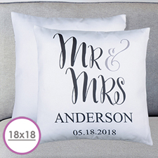 Mr. And Mrs. Personalised Large Cushion 18