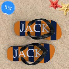 Navy Orange Stripe Personalised Flip Flops, Kid Medium