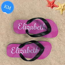 Pink Floral Personalised Flip Flops, Kid Medium