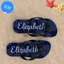 Navy Floral Personalised Flip Flops, Kid Medium