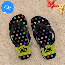Colourful Polka Dot Personalised Flip Flop, Kid Medium