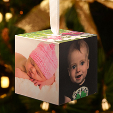 Photo Gallery Wood Cube Christmas Ornament