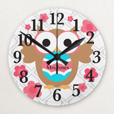 Owl Personalised Frameless Wall Clock For Teacher Custom Printed