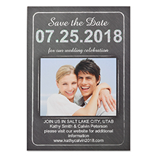 Chalkboard Love Personalised Photo Save The Date Card, 5