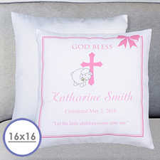 Girl Christening Personalised Pillow Cushion Cover 16