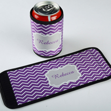 Lavender Chevron Personalised Can And Bottle Wrap