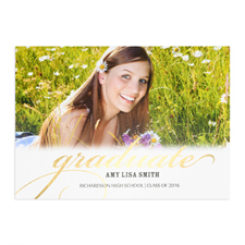 Foil Gold Graduate Personalised Photo Card