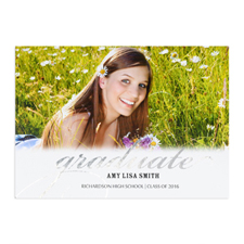 Foil Silver Graduate Personalised Photo Card