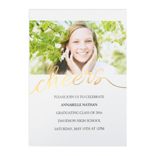 Foil Gold Cheers Personalised Photo Graduation Announcement, 5