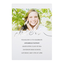 Foil Silver Cheers Personalised Photo Graduation Announcement, 5