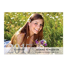 Foil Silver Whimsy Graduate Personalised Photo Graduation Announcement Cards