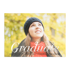 Foil Silver Script Graduate Personalised Photo Graduation Announcement Cards