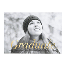 Foil Gold Script Graduate Personalised Photo Graduation Announcement Cards
