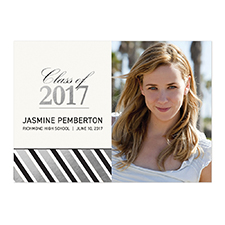 Foil Silver Deco Graduate Personalised Photo Graduation Announcement Cards