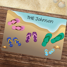 Five Flip Flops Personalised Doormat