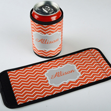 Mandarin Chevron Personalised Can And Bottle Wrap
