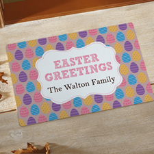 Easter Greetings Personalised Doormat