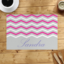 Grey White Pink Chevron Personalised Placemat