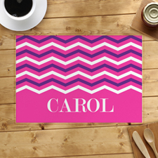 Pink White Purple Chevron Personalised Placemat