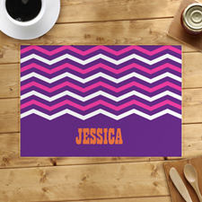 Purple White Pink Chevron Personalised Placemat