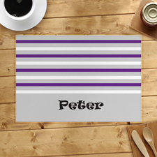 Grey White Purple Stripe Personalised Placemat