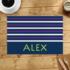 Navy White Purple Strip Personalised Placemat