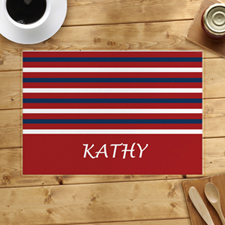 Red White Navy Strip Personalised Placemat