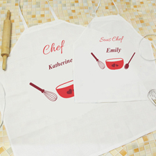 Seasoned With Love Personalised Adult Kids Apron Set