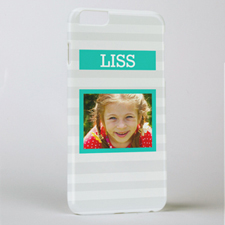 Grey Stripe Personalised Photo iPhone 6+ Case
