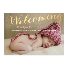 Welcoming Foil Gold Personalised Photo Birth Announcement, 5