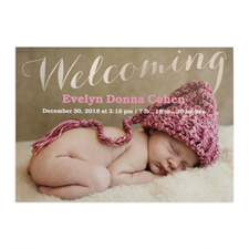Welcoming Foil Silver Personalised Photo Birth Announcement, 5