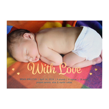 With Love Foil Gold Personalised Photo Birth Announcement, 5