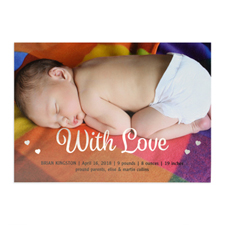 With Love Foil Silver Personalised Photo Birth Announcement, 5