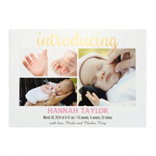 Introducing Foil Gold Personalised Photo Birth Announcement, 5