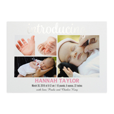Introducing Foil Silver Personalised Photo Birth Announcement, 5