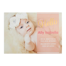 Script Hello Foil Gold Personalised Photo Girl Birth Announcement, 5