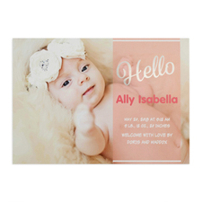 Script Hello Foil Silver Personalised Photo Girl Birth Announcement, 5